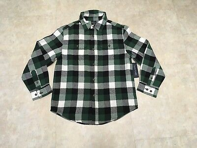 Faded Glory Boys Size 10 Green, Black and White Plaid Flannel L/S Shirt