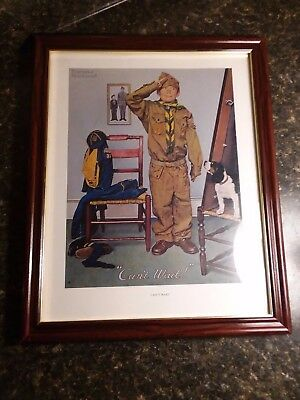 """norman Rockwell"" Boy Scout Print, Framed ""can't Wait"" 12X15"