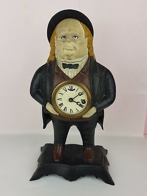 BRADLEY HUBBARD JOHN BULL FIGURAL cast iron MOVING  EYE Clock HAVE Key