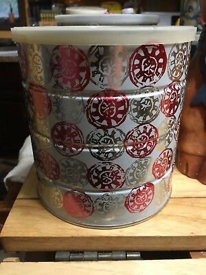 Vintage Butternut Coffee Collector Can 3LB Red Silver Medallions Celestial Sun
