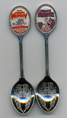 Yummy Mummy and Frute Brute 2 Silver Plated Spoons Yummy Mummy Frute Brute