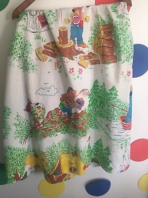 """Vintage Sesame Street Curtain Panel Camping Scene 66"""" by 40"""""""