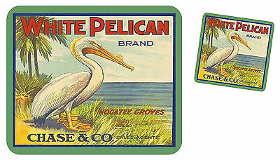 WHITE PELICAN BRAND vintage crate label image mousepad w/ free coaster