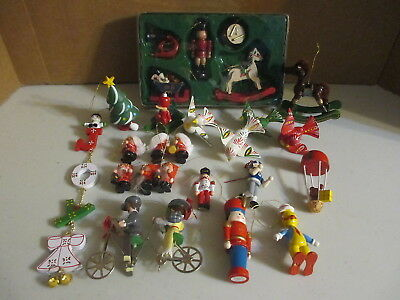 Large Lot of Small Wooden Wood Vintage Christmas Tree Ornaments Bird Bike Horse