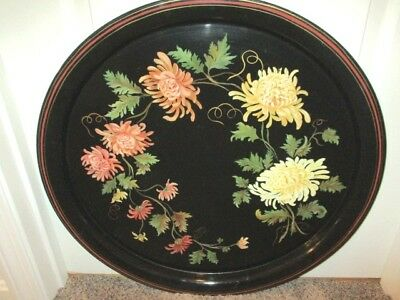 Extra-Large Black Antique Hand Painted Yellow Salmon Mums Butler's Tole Tray