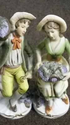 "Homco #1258""Grape harvest couple""porcelain figurines man and women."