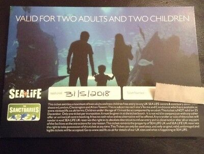Sea Life Tickets genuine ticket 2 adults/2 child-valid till 31/5/18 at 12 sites