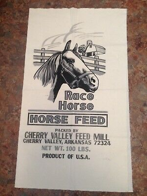 Vintage Cotton Racehorse Race Horse Feed Bag Sack Unused Unsewn