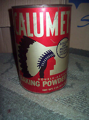 Vintage Tin, Bakers  CALUMET  Baking Powder 5 lb. Tin Can