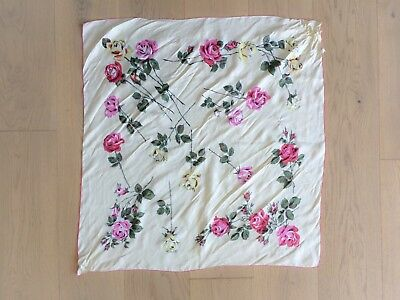 Vintage 1950s Pink and Yellow Rose Print Silk Scarf - made in France