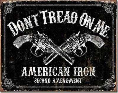 DTOM Don't Tread On Me American Iron Guns Pistols 2nd Amendment Tin Metal Sign