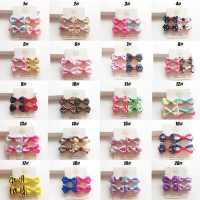 2Pairs Mini Bow Newborn Hair Clips Baby Sweet Girls Hairpin Bowknot Floral