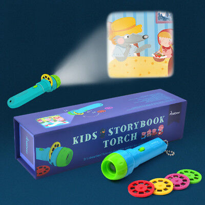 Mini Projector Story Book Torch Educational Light-up Toy Kids Christmas Gift New
