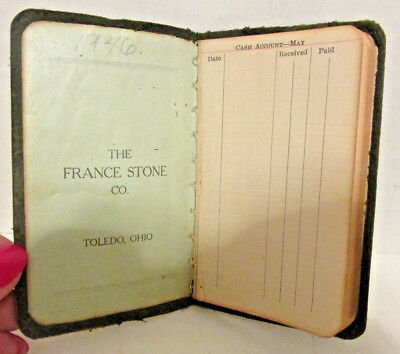 1922-23 Small Leather Advertising Ledger Book, The France Stone Co., Toledo, OH