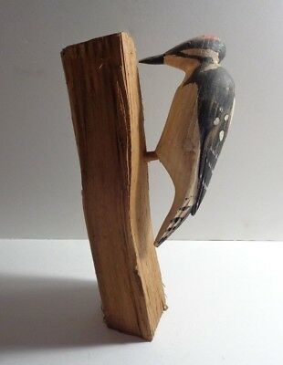 "Downy Woodpecker Carving On Split-Wood Stand. Artist Signed Under Tail. 9"" Tall"
