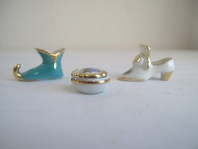 3 Limoges Miniatures - Shoes, Trinket Box