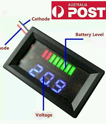 12V Acid Lead Battery Indicator Battery Capacity LED Tester Dual Display Meter