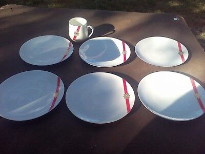 A lot of 6 TWA Royal ambassador 7 inch plates rare vintage airlines 1960's
