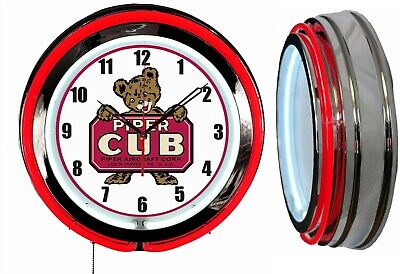 "Piper CUB Aircraft Airplane 19"" Double Neon Clock RED Neon Chrome Finish"