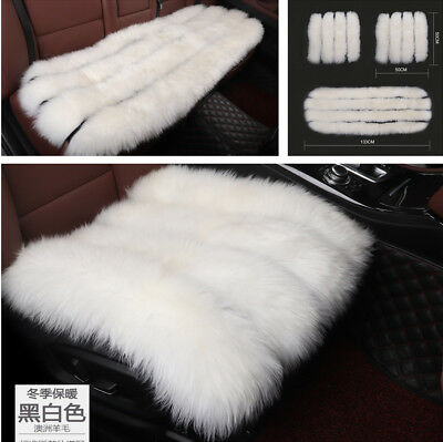 Set Car White Pure Wool Seat Cover Cushion Protector Warm with Hooks for Winter
