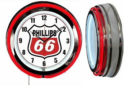 "Phillips 66 Gas Oil 19"" Double Neon Clock RED Neon Chrome Finish"