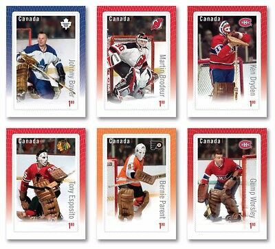 GREAT CANADIAN GOALIES = HOCKEY =6 Souvenir Sheets,Statistic on Back Canada 2015