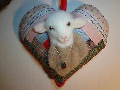 Ooak Fabric Sculpted Sheep / Lamb On Antique Quilt Heart Pillow
