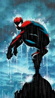 Spider-Man In The Rain Watching Over City Night Sky Marvel Fine Art on Canvas