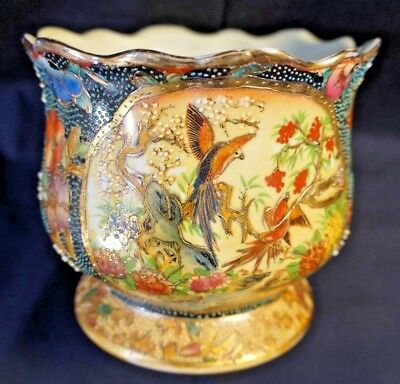 "Japan Satsuma Vase Bowl Flowers Birds ~5 1/8"" tall and 6"" wide"