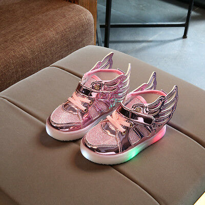 Kids Wings Luminous Shoes LED Light up Sneakers Trainers Boys Girls Fashion