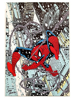 Spider-Man Marvel Christmas Holiday Winter Snow City View Comic Book Art Canvas