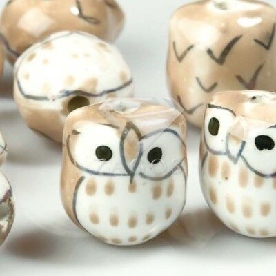 10pcs Wholesale Handmade Porcelain Owl Spacer Loose Beads 17x15mm Brown PB0010