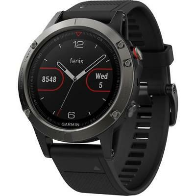 GARMIN Fenix 5 Slate Gray Black Band Watch 010-01688-00 GPS HRM Multi Sport NEW