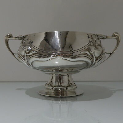 Early 19th Century Edwardian Antique Sterling Silver Large Art Nouveau Rose Bowl