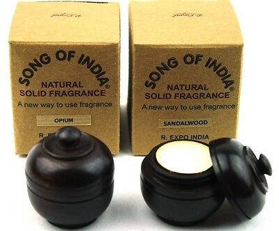 2 X 6g Wood Jars Song of India Natural Fragrant Solid Perfume - Patchouli Amber