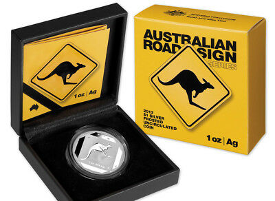 Australia: 2013 1oz Silver Kangaroo Road Sign  Frosted UNC Issue Price $88