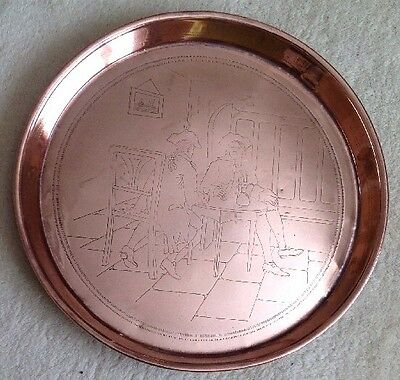 J.s & S Sankey Arts And Craft Polished 31 Cm Copper Tray Village Inn Scene