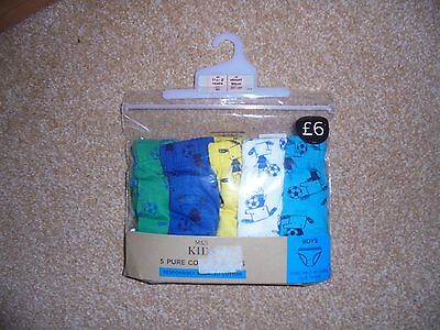 BN M&S pack of 5 pure cotton briefs 18-24 months Boys