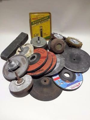 Assortment grinding discs wheels wire brushes grind stone etc Ref LC