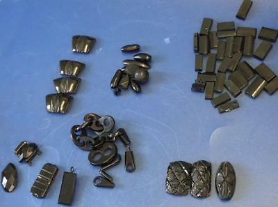 Assortment of  Black French Glass and Whitby Jet Mourning Jewellery Beads