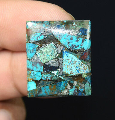 21.95  Cts Natural Fantastic  Silver  Azurite  Cushion  Cab  Loose  Gems
