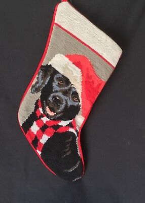 needlepoint Christmas stocking Black lab Labrador  full size*NOT a kit