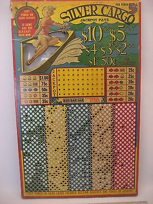 Silver Cargo Nickle Punch Pin-up Jackpot Gaming Board Vintage Punchboard