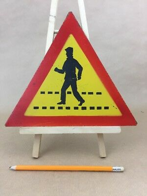 "Vintage Metal Sign ""Pedestrian Crossing"" Made in Poland Industrial Road Signage"