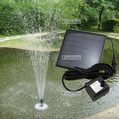 Solar Water Pump Power Panel Kit Fountain Pool Garden Pond Submersible Black FZ
