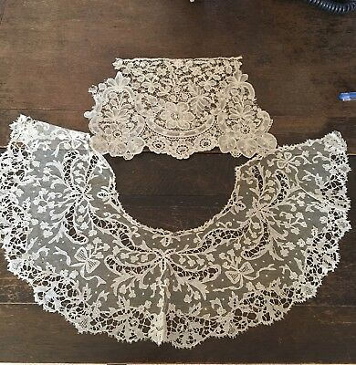 Victorian Antique Handmade Lace Collar and Trim, Intricate Detail