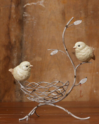 New French Country Shabby Chic BIRD NEST BRANCH Bowl Stand Basket Figurine