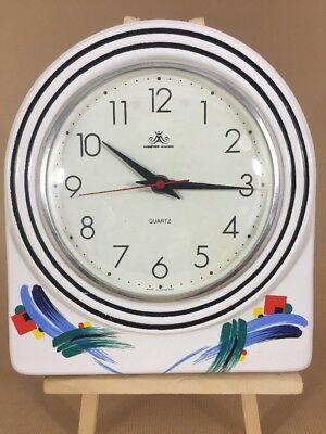 Vintage Ceramic Clock Made in Germany Retro Kitchen Wall Clock
