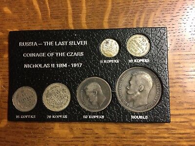 Russia.1894-1917 The last silver coinage of the czars Nicholas II-Set of 6 coins