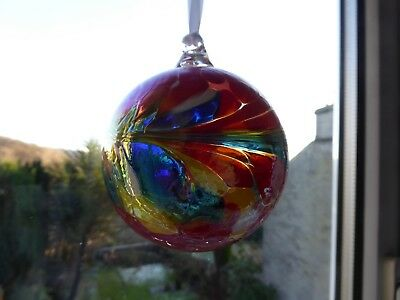 Hand Blown recycled Glass Friendship globe ball bauble Boxed NT small Xmas gift?